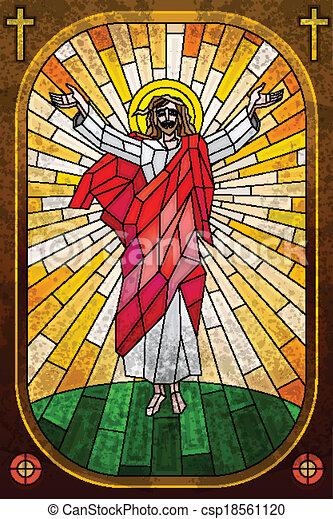ガラス, 汚された, 絵, キリスト, イエス・キリスト - csp18561120
