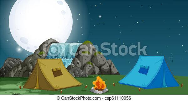 キャンプ場, 光景, 夜 - csp61110056