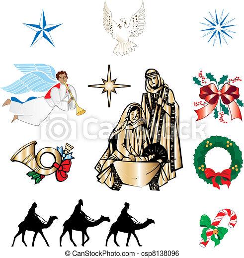 キリスト教徒, クリスマス, アイコン - csp8138096