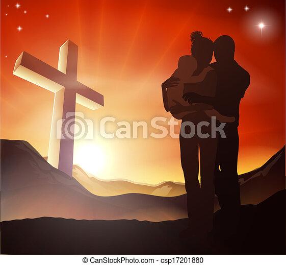 キリスト教徒, グループ, 交差点, 家族 - csp17201880