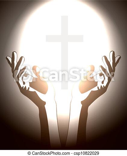 キリスト教徒, シルエット, 交差点, 手 - csp10822029