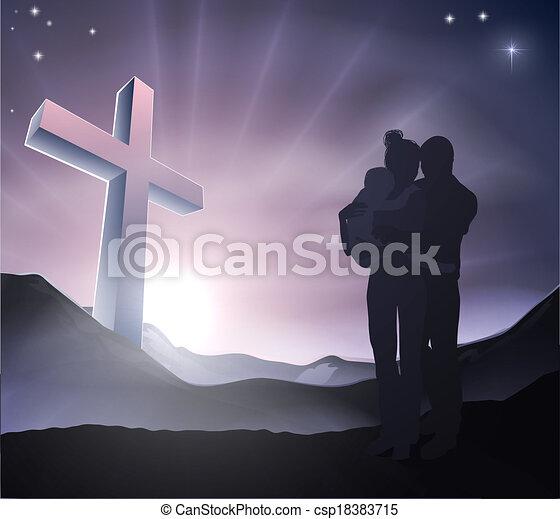 キリスト教徒, 概念, イースター, 家族 - csp18383715