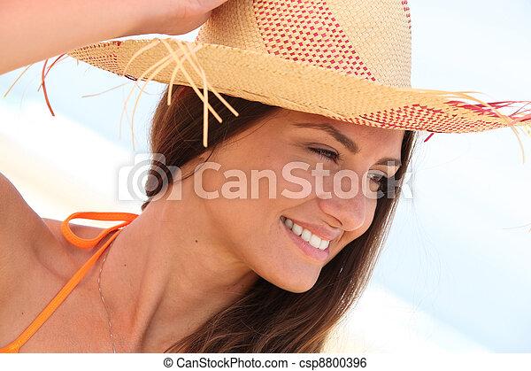 クローズアップ, 女, 帽子 - csp8800396