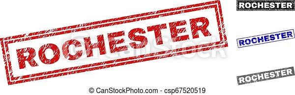 グランジ, スタンプ, ロチェスター, 長方形, textured - csp67520519