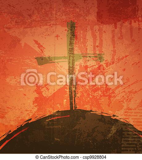 グランジ, 聖書, concept., 交差点, バックグラウンド。, 日没 - csp9928804