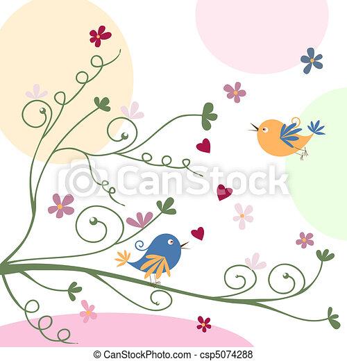 グリーティングカード, 鳥 - csp5074288
