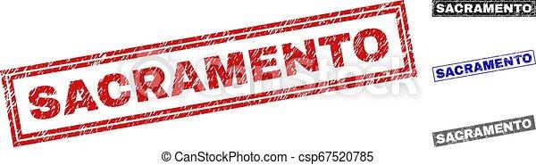 サクラメント, スタンプ, グランジ, 長方形, textured - csp67520785