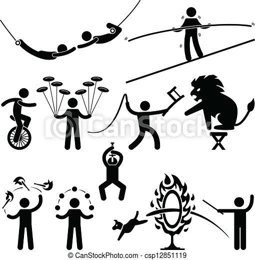 サーカス, 実行者, 曲芸師, pictogram - csp12851119