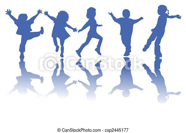 シルエット, 子供, 幸せ - csp2445177