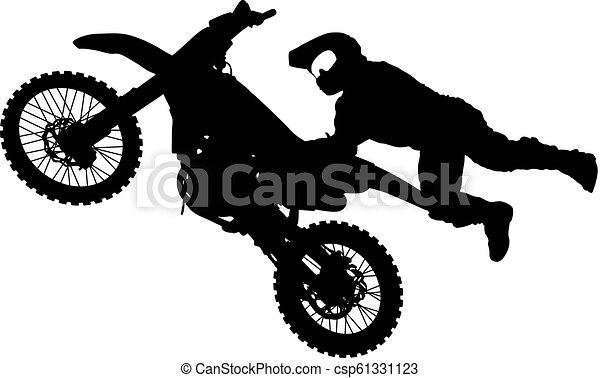 シルエット, 実行, トリック, オートバイ, 背景, 白, ライダー - csp61331123