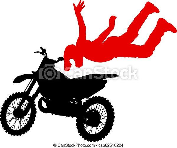 シルエット, 実行, トリック, オートバイ, 背景, 白, ライダー - csp62510224