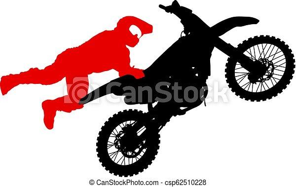 シルエット, 実行, トリック, オートバイ, 背景, 白, ライダー - csp62510228
