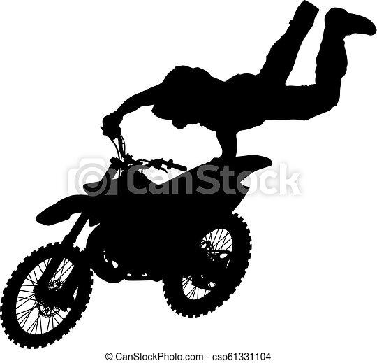 シルエット, 実行, トリック, オートバイ, 背景, 白, ライダー - csp61331104