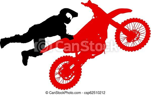 シルエット, 実行, トリック, オートバイ, 背景, 白, ライダー - csp62510212