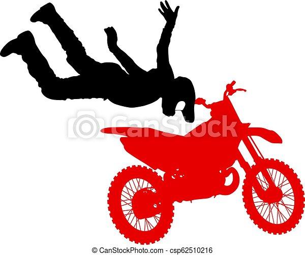 シルエット, 実行, トリック, オートバイ, 背景, 白, ライダー - csp62510216