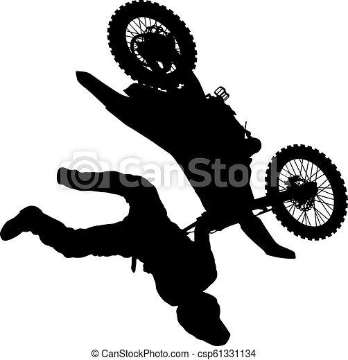 シルエット, 実行, トリック, オートバイ, 背景, 白, ライダー - csp61331134