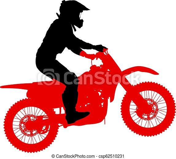 シルエット, 実行, トリック, オートバイ, 背景, 白, ライダー - csp62510231