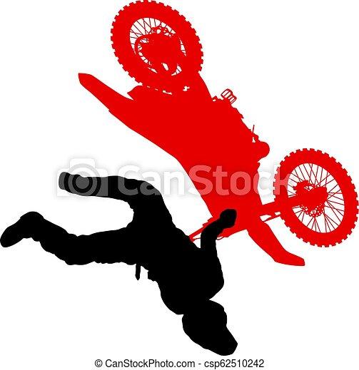 シルエット, 実行, トリック, オートバイ, 背景, 白, ライダー - csp62510242