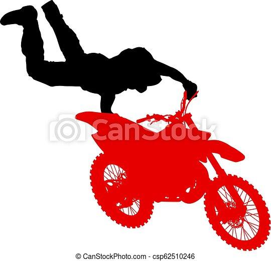 シルエット, 実行, トリック, オートバイ, 背景, 白, ライダー - csp62510246