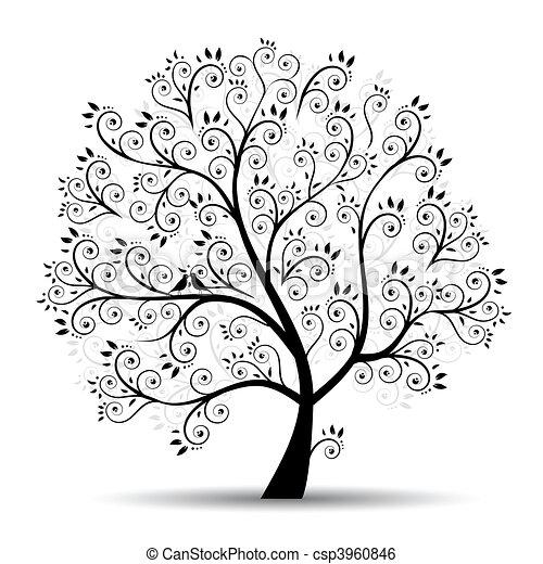シルエット, 芸術, 木, 美しい, 黒 - csp3960846