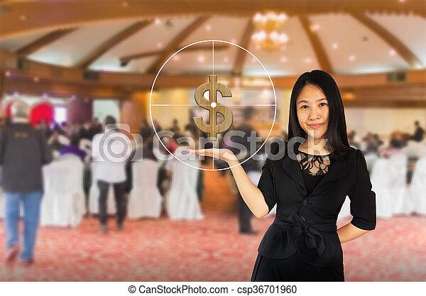 シンボル, ビジネス, 黒, ドル, 女性, 若い, スーツ, ターゲット, 提出すること, 背景, 微笑, アジア人, 手, ぼんやりさせられた - csp36701960