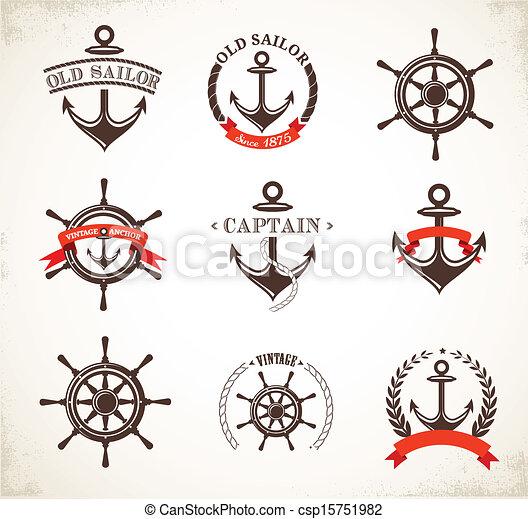 シンボル, 型, セット, 海事, アイコン - csp15751982