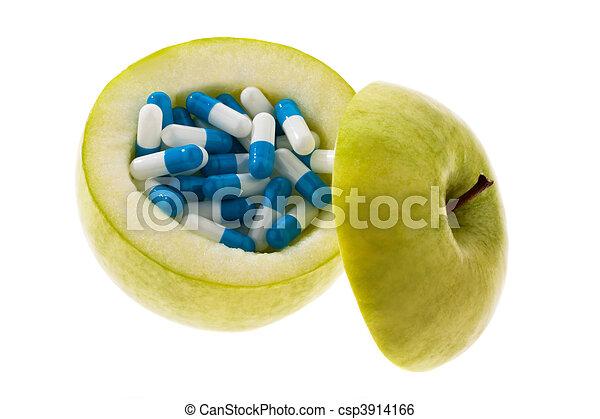 シンボル, capsules., タブレット, アップル, ビタミン - csp3914166