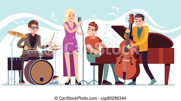 ジャズ, 特徴, ファンキーである, 実行, 音楽, 型, 祝祭, ベクトル, パーティー, 音楽家, トランペット, サクソフォーン, ドラム, musicians. - csp80286344