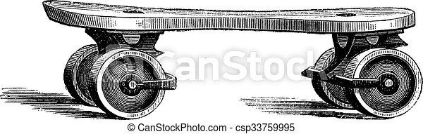 スケート, 型, 彫版, ローラー - csp33759995