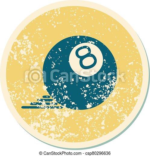 スタイル, ボール, 8, アイコン, 悲嘆させられた, 入れ墨, ステッカー - csp80296636