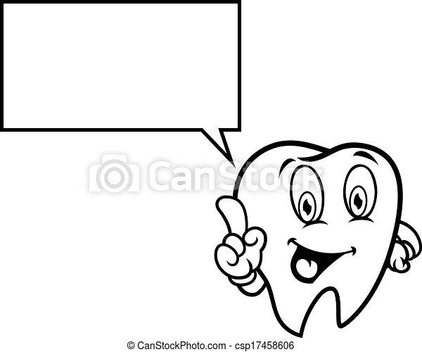 スピーチ泡, 漫画, 歯 - csp17458606