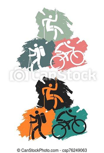 スポーツ, 屋外, icons. - csp76249063