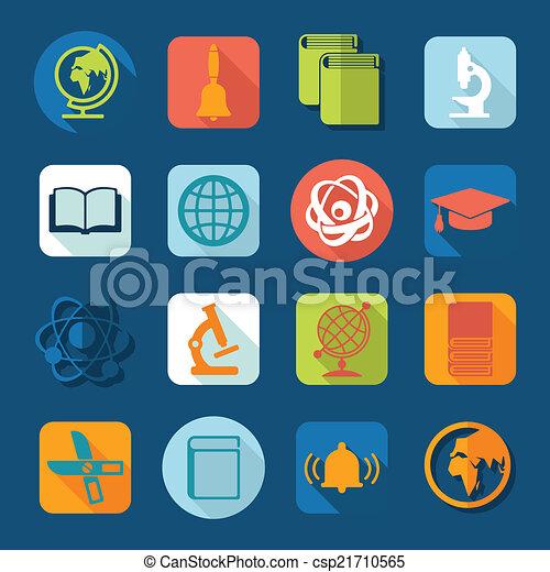 セット, 教育, アイコン - csp21710565