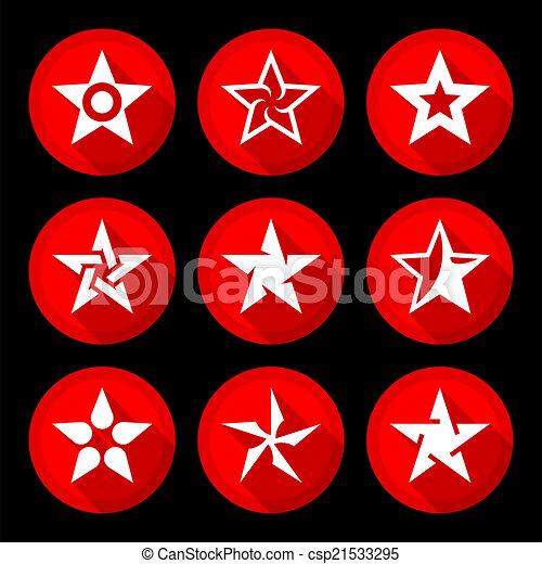 セット, 星, アイコン - csp21533295