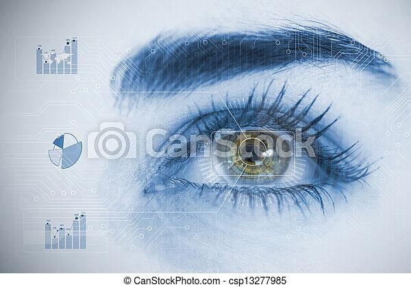チャート, 分析, 終わり, interfaces, の上, 目, 女 - csp13277985