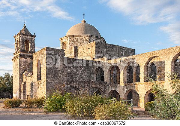 テキサス, convento, 代表団, 日没, アーチ, サン・ホセ, antonio - csp36067572