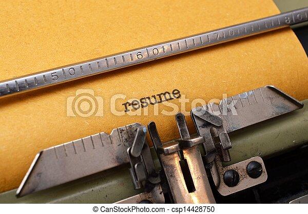 テキスト, 履歴書, タイプライター - csp14428750
