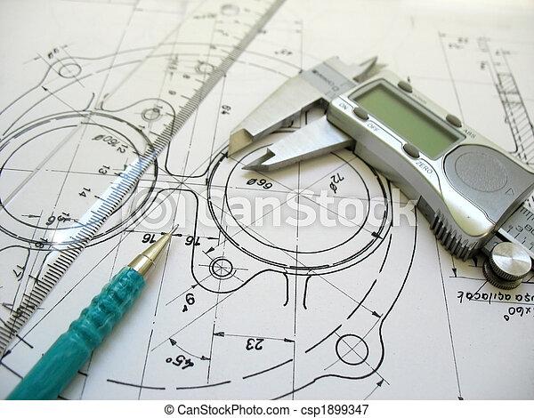 テクニカル, 定規, デジタル, drawing., 工学, 道具, 機械, 厚さ, pencil. - csp1899347