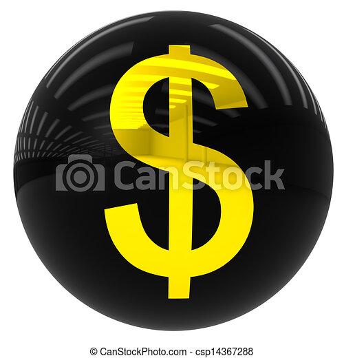 ドル, ボール, シンボル - csp14367288
