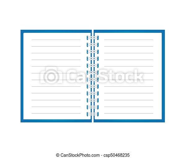 ノート, 開いた, らせん状に動きなさい - csp50468235