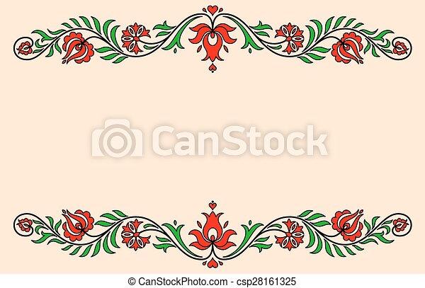 ハンガリー人, 型, ラベル, 伝統的である, motives, 花 - csp28161325