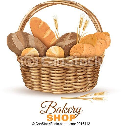 バスケット 現実的 イメージ パン屋 Bread 店 フルである ハンドル ヤナギ 枝編み細工 Bred イラスト 伝統的である 現実的 パン屋 ベクトル ポスター バスケット 新たに ディスプレイ Canstock