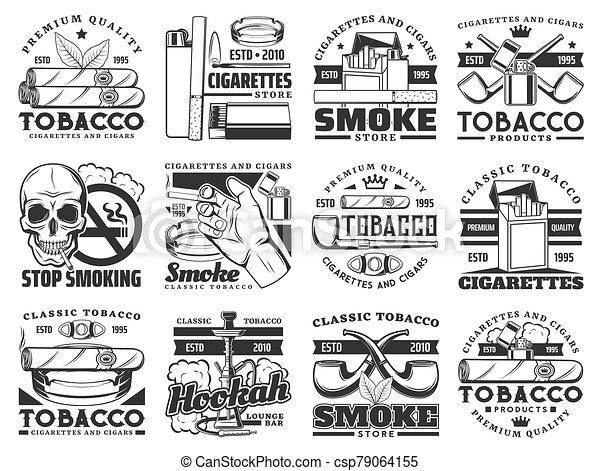 パック, タバコ, 葉, 葉巻き, タバコ, アイコン, パイプ. フィルター ...