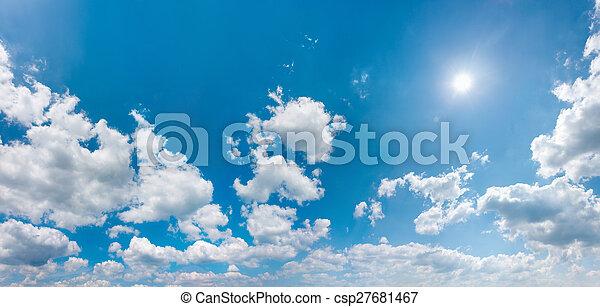 パノラマ, ウィット, 空, 照ること, 太陽 - csp27681467