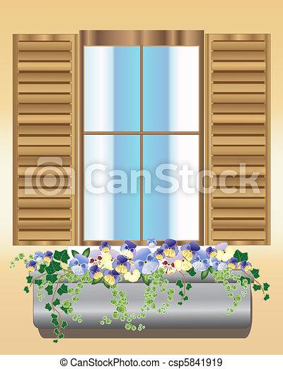 パンジー, 箱, 窓 - csp5841919