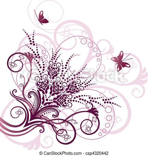 ピンク, 花, コーナー, デザイン要素 - csp4320442