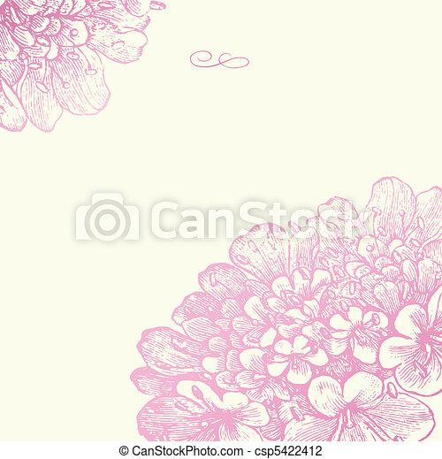 ピンク, 花, フレーム, ベクトル, 広場 - csp5422412