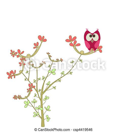 フクロウ, ブランチ, 花 - csp4419546
