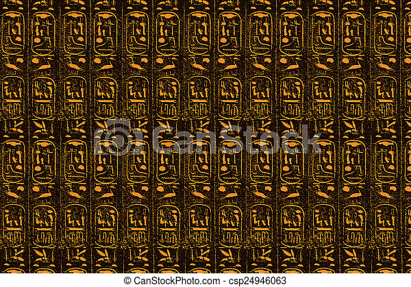 ブラウン, エジプト人, 定型, 象形文字, 背景, オレンジ - csp24946063