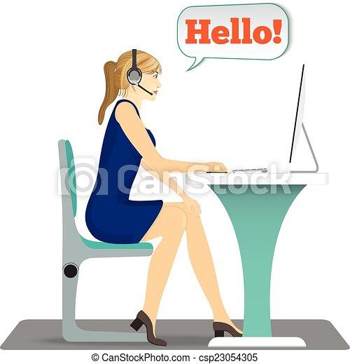 ヘッドホン, 頭, 女, 仕事, 彼女, モデル, pc, テーブル, 椅子 - csp23054305